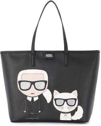 Karl Lagerfeld Ikonik Black Saffiano Leather Shopper