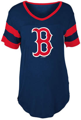5th & Ocean Women's Boston Red Sox Sleeve Stripe Relax T-Shirt