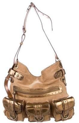 Ghurka Leather-Trimmed Suede Shoulder Bag