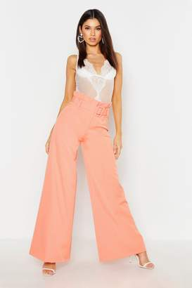 boohoo The Tailored Paperbag Waist Belted Wide Leg Pants