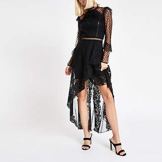 River Island Black lace long sleeve maxi dress