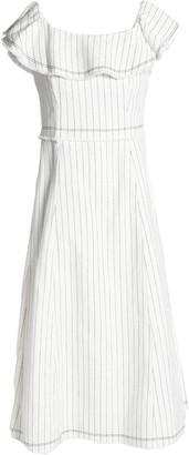 Alexander Wang Ruffled Striped Textured-cotton Dress
