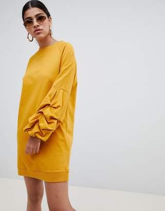 Asos DESIGN tuck sleeve sweat dress