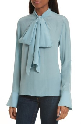 Women's Alice + Olivia Wesley Bow Neck Silk Blouse $275 thestylecure.com