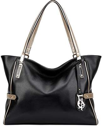 FOXER Genuine Leather Handbag Purse for Women Top Handle Tote Shoulder Bag