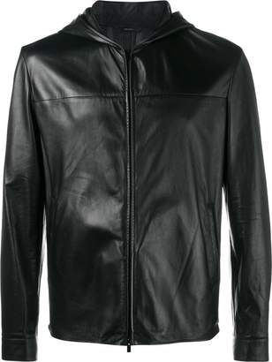 Fendi Bag Bugs hooded leather jacket