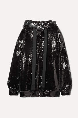 Marques Almeida Marques' Almeida - Oversized Sequined Tulle Hoodie - Silver