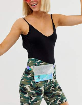 Asos Design DESIGN holographic and diamante purse detail waist and hip belt