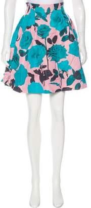 Christian Dior Silk Rose Print Skirt