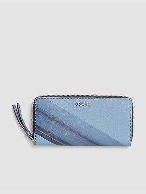 Calvin Klein Calvin Klein Womens Faux Leather Striped Zip Wallet Cashmere Blue