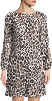 Catherine Malandrino Pleated A-Line Leopard-Print Dress