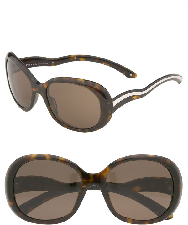 Prada Wavy Temple Oval Sunglasses