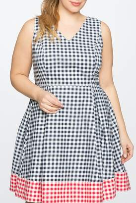 ELOQUII Draper James for Gingham Blocked Fit & Flare Dress (Plus Size)
