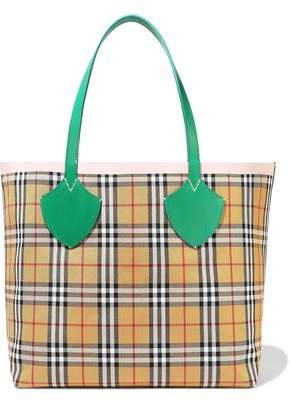 c3dcaf881 Burberry Giant Reversible Leather-trimmed Checked Bonded-cotton Tote