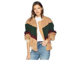 J.o.a. Color Block Teddy Faux-Fur Jacket