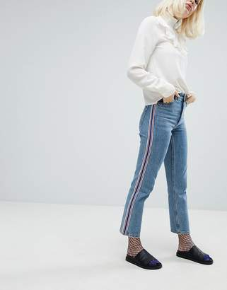 Monki Side Stripe Mom Jeans