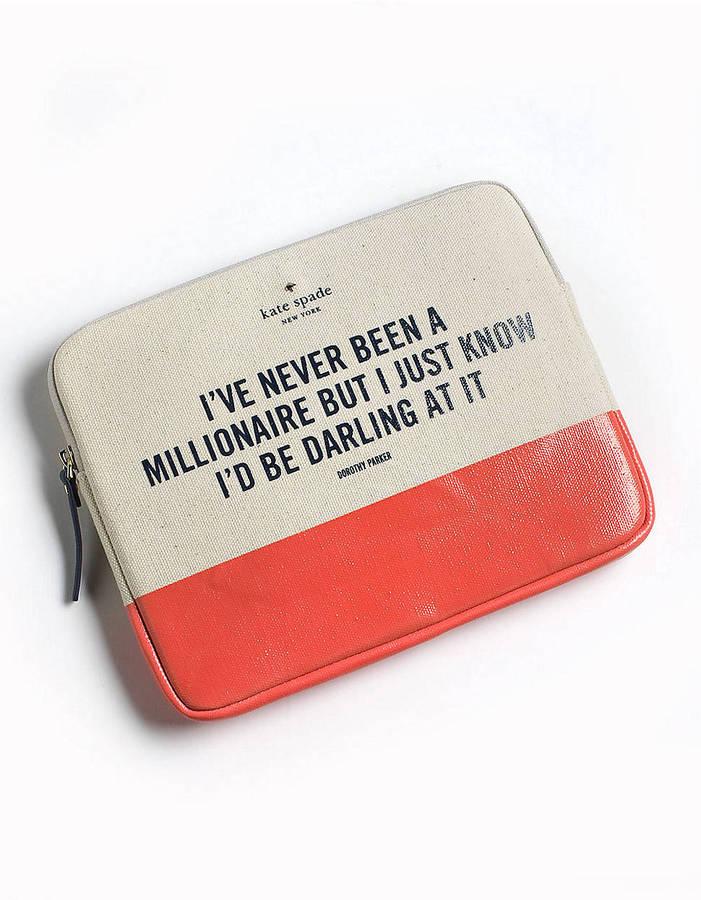 Kate Spade Millionaire Quote iPad Sleeve