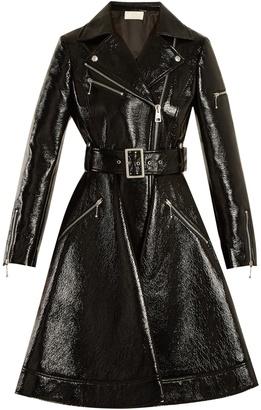 Flared-hem patent faux-leather biker coat