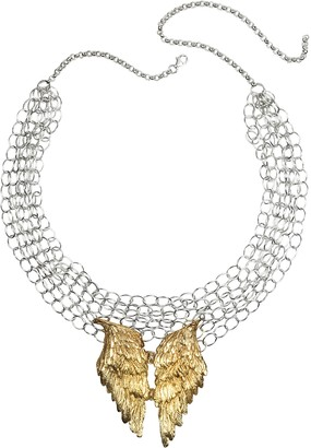 Bernard Delettrez Silver Chains with Bronze Wings Necklace