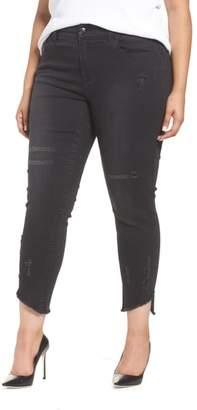 Seven7 Distressed Slant Raw Hem Skinny Jeans