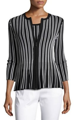 St. John Collection Kiklos Striped Zip-Front Jacket, Caviar/Bianco $795 thestylecure.com