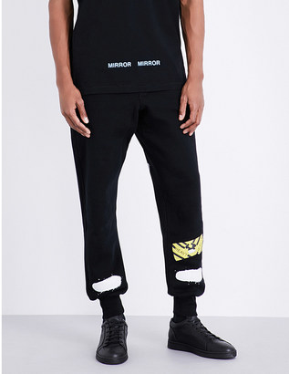 OFF-WHITE C/O VIRGIL ABLOH Spray-effect cotton-jersey jogging bottoms $300 thestylecure.com