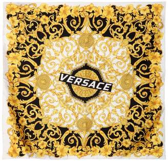 Versace Logo Baroque Print Silk Scarf