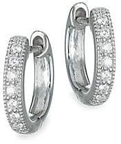 Jude Frances Women's Classic Diamond & 18K White Gold Huggie Hoop Earrings/0.5""