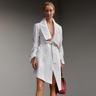 Burberry Stretch Cotton Sculptural Wrap Dress , Size: 04, White