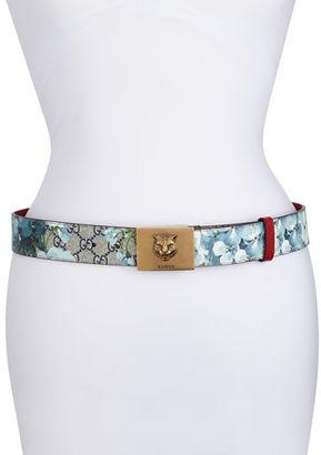 Gucci GG Supreme Blooms Belt w/ Tiger Buckle $480 thestylecure.com