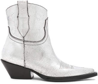 Maison Margiela Metallic Short Western Boots in Silver Birch & Black | FWRD