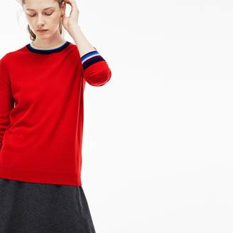 Lacoste Women's Crew Neck Cashmere Jersey Sweater With Striped Accents