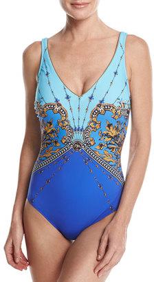 Gottex Versailles V-Neck One-Piece Swimsuit, Blue Multicolor $188 thestylecure.com