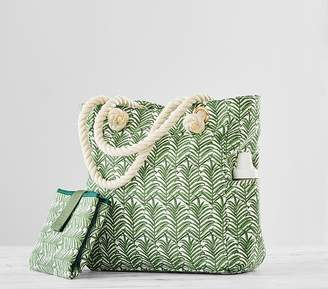 Pottery Barn Kids Rope Handle Palm Fronds Tote