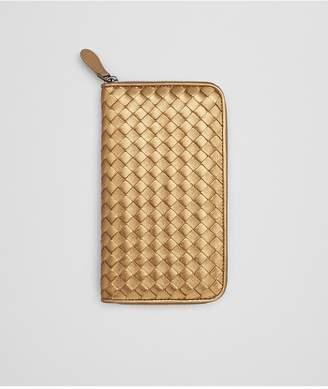 Bottega Veneta Zip-Around Wallet In Dark Gold Intrecciato Gros Grain