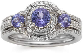 MODERN BRIDE Genuine Tanzanite and 1/3 CT. T.W. Diamond Sterling Silver Ring