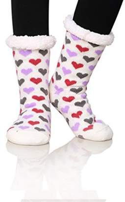 Generic Women's Winter Fleece Knit Non Slip Warm Fuzzy Cozy Slipper Socks-WHITE pink
