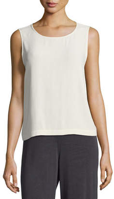 Eileen Fisher Sleeveless Short Silk Georgette Shell, Plus Size