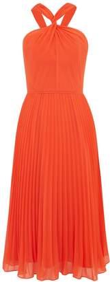 Oasis Twist neck pleated midi dress