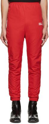 Vetements Red 'Unidad Hombres' Track Pants $1,035 thestylecure.com