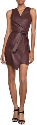 BCBGMAXAZRIA Layla Asymmetric Faux Leather Sleeveless Dress