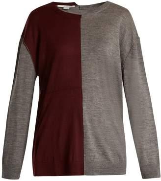 Stella McCartney Bi-colour long-sleeved wool-blend sweater