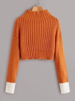 Shein Drop Shoulder Contrast Cuff Sweater