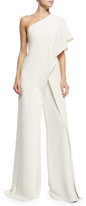 Ralph Lauren Collection One-Shoulder Silk Crepe Jumpsuit, Ivory $3,990 thestylecure.com