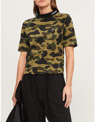 BAPE High-neck camouflage-print cotton-jersey T-shirt