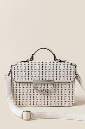 francesca's Holly Perforated Clutch Crossbody - Ivory