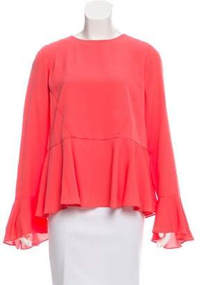 Tanya Taylor Bell Sleeve Crew Neck Blouse