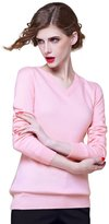 织礼 Zhili Women's V-neck Cashmere Pullover Sweater(_)