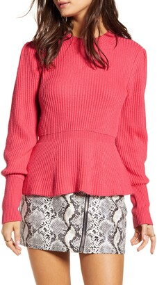 ENGLISH FACTORY Balloon Sleeve Peplum Sweater