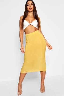 boohoo Basic High Waist Slinky Fitted Midaxi Skirt